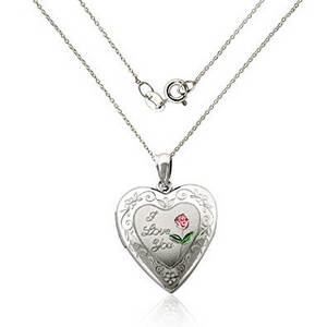 engraved rose heart necklace