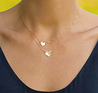 layered gold hearts necklace