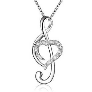 treble clef heart necklace