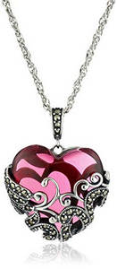 Clear red glass heart necklace