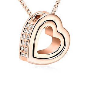 Rose gold double hearts necklace