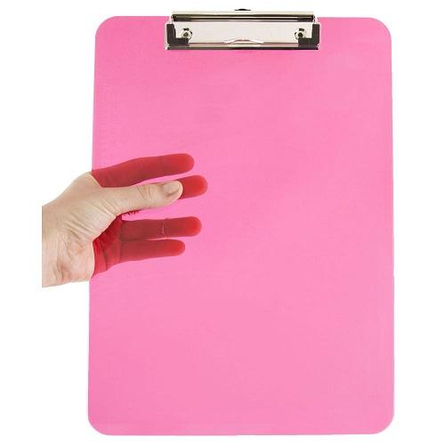 JAM PAPER Pink Plastic Clipboards