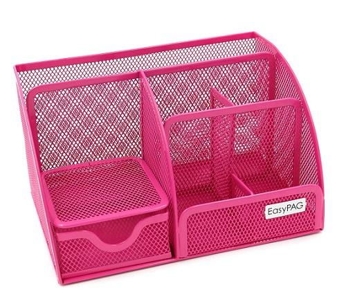 EasyPAG Mesh Pink Office Desk Organizer