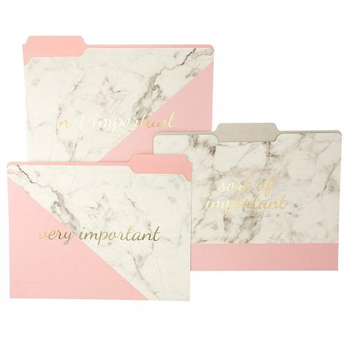 File Folder Set Marble Pink Home Office School Supplies