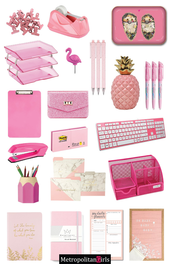 Pink Desk Accessories and Office Supplies
