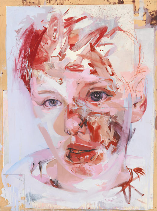 red stare collage by jenny saville - contemporary female artist. painter.
