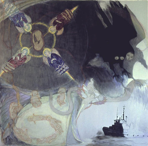 the sardana becomes infernal 1993-1994 painting by jo baer.