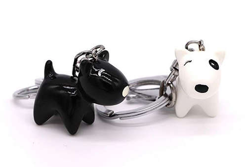Matching Black and White Dog Puppy Lovers Couples Keychains