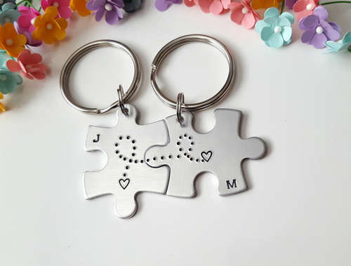 Fitting Puzzle Matching Couples Accessory Keychains