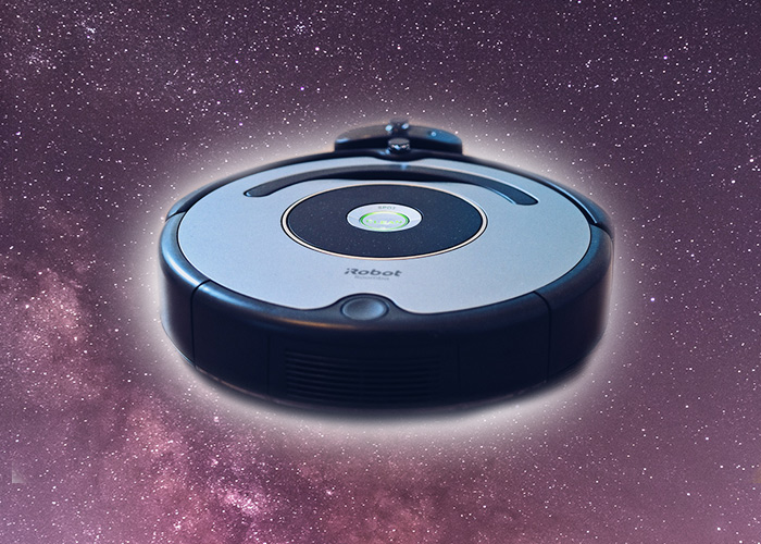 robot vacuum cleaner in space - black hole akin to a cosmic vacuum machine
